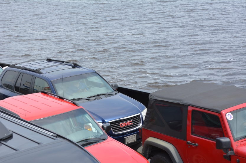 cars on ferry boat