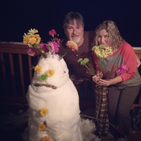 Us with the blooming snowman