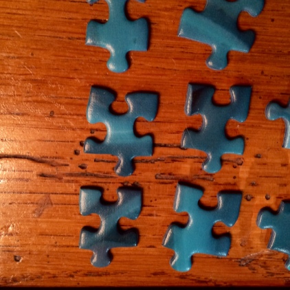 Blue color puzzle pieces
