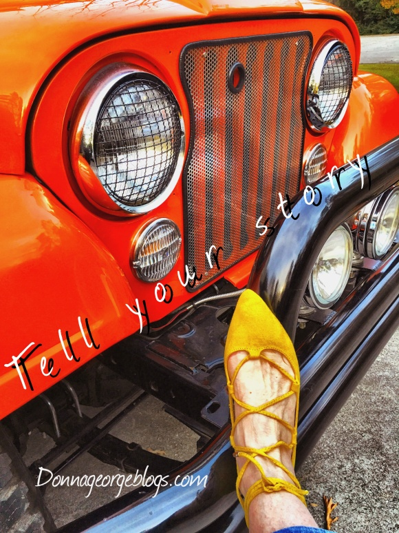 Orange Jeep, Yellow shoe, Tell your story